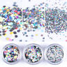 Holographic Nail Art Sequins Silver Laser Hexagon 1/2 /3mm Glitter Flakes Tips