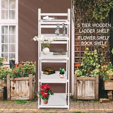 5 Tier Ladder Wall Shelf Stand Storage Book Shelves Display Rack Shelving White