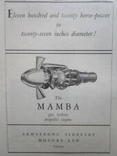 9/1946 PUB ARMSTRONG SIDDELEY MAMBA GAS TURBINE PROPELLER ENGINE ORIGINAL AD