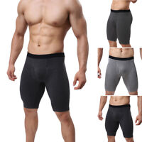 Mens Boxer Briefs Shorts Long Leg Sports Gym Fitness Underwear Breathable M-XL