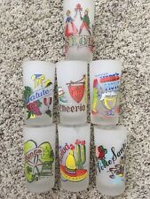 New listing Vintage Frosted Tumbler Glasses With Greetings Cheerio Salute Howsante Srol (7)