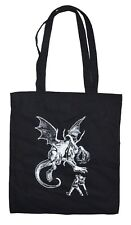 Jabberwocky Alice in Wonderland Bag Black Cotton Eco Bag Printed in UK Tote