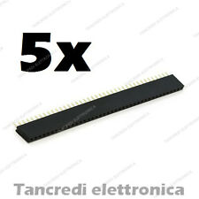 5x Connettori strip line 40 pin poli Femmina Stripline 2.54mm circuito stampato