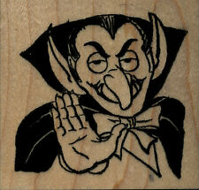 """mounted Halloween rubber stamp  Dracula large size   wood mount 2 1/2"""" X 2 1/2"""""""