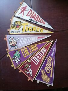 Vintage Mexican LOT OF 6 DIF BASEBALL TEAMS Pennant from 50's Mexico rare