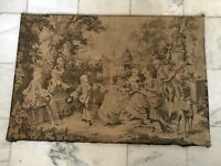 VINTAGE FRENCH TAPESTRY WALL HANGING COURTSHIP GARDEN SCENE DOGS MADE IN FRANCE