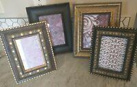 Lot of 4 Vintage gold black tone ornate photo picture frames decor art