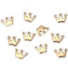BMC Cute 10pc Gold Metal Alloy Mini Three Point Crown Nail Art Fashion Studs