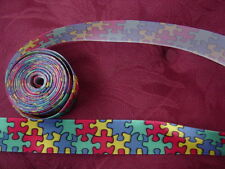 """AUTISM Awareness Jigsaw Puzzle Piece Ribbon 7/8"""" x 5 yd Craft,Scrapbook"""
