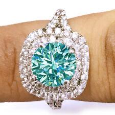 3.16 Ct VVS1.>White Blue Round Moissanite Diamond Engagement 925 Silver Ring