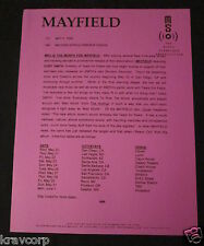 CURT SMITH/MAYFIELD--1998 PRESS RELEASE
