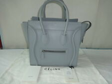 Authentic Celine Pale Grey Leather Micro Luggage Tote Bag Excellent Condition