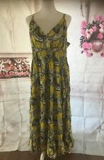 3X Maxi Dress,... Yellow And Gray And White