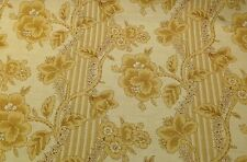 """P KAUFMANN FLORAL VINE STRIPE GOLD YELLOW MULTI USE FABRIC BY THE YARD 54""""W"""