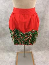vintage half apron 16 x 18 Christmas red candy canes pouch green