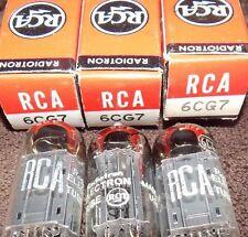 3 PIECES NOS NIB BLACK PLATE 6CG7 RCA VINTAGE USA TUBES EXCELLENT = AUDIO 6FQ7