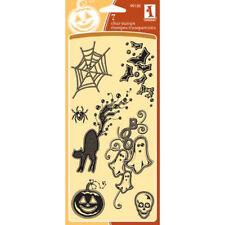Inkadinkado GEMSTONE HALLOWEEN Clear Stamp Set 99135 Bats Ghost Skull Spider Web