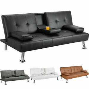 HOT SALE !!! Modern Faux Leather Futon Sofa Bed Fold Up & Down Recliner Couch