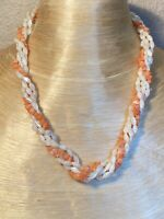 Angel Skin Pink Coral Necklace High End Untreated Natural Vtg Mother Of Pearl