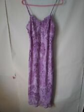 Womens Size L Spaghetti Strap Dress Purple  Fit Floral Stretch Party lined