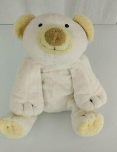"9"" 2002 Ty Pluffies Polar Teddy Bear Plush Cloud White & Yellow Beanbag Beanie"