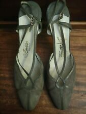 Byrons Amano, Grey Vintage Heels with buckle, Women's Size 10N