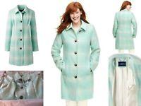 NWT Lands End Womens Plus Wool Car Coat 16W Aqua Plaid - Reg $219
