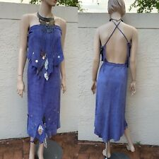 AMAZING BECCA LEATHER INDIAN INSPIRED HALTER DRESS WITH ELEPHANT COLLAR SZ S