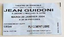 JEAN GUIDONI billet ticket concert collector FRANCE Grenoble 20/01/2004