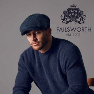 Failsworth Harris Tweed 'Carloway' Bakerboy / Newsboy Cap in Blue up to 63cm XXL