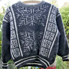 Tundra snowflake grey Knit Sweater Jumper 100% virgin wool Size XS handmade rare