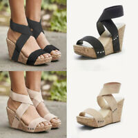 NEW Womens Summer Sandals Platform Wedge Heels Ladies Open Toe Beach Shoes Size