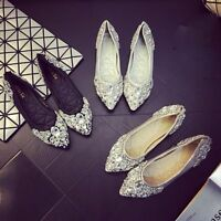 Women Rhinestone Crystal Pointed Toe Flat Shiny Bridal Comfy Casual Shoes