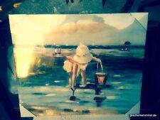 Leinwand Bild Strand Eimer 60 x 49,5 cm antik Rarität Vintage Wand Deko Sommer