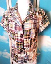 Larry Levine Women's Blouse Sz 10 Madras Plaid Patchwork Peplum Waist Cotton