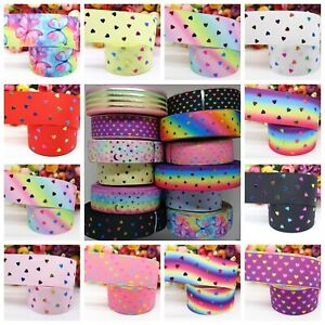 "Grosgrain Printed Ribbon 38mm Width 1 1/2"" Birthday Rainbow Hearts Hair Bows"