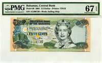BAHAMAS 1/2 DOLLAR 2001 BAHAMAS CENTRAL BANK PICK 68  VALUE $140