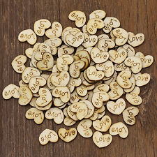 50 x Rustic Wooden Love Heart Wedding Table Scatter Confetti Decoration Crafts