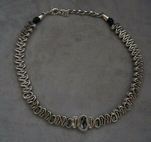 NWT Uno De 50 GREY AS HELL Elements Crystal Short Silver Necklace Choker RP $475