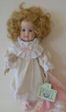 "Vintage Dynasty Bisque 14"" Doll "" Katie "" w/ Blanket & Babydoll  Blue Glass Eyes"