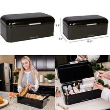 Large Black Bread Box - Powder Coated Stainless Steel - Extra