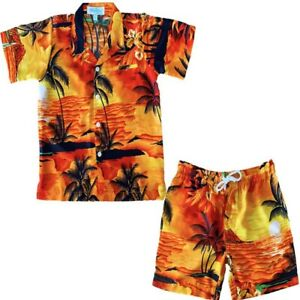 Hawaiian Girls Shirt & Shorts Set Sunset Orange
