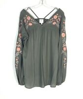 KNOX ROSE Women's Size M Boho Embroidered Floral Balloon Sleeve Tunic Blouse