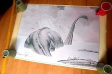 Berni Wrightson signed 1977 Dinosaur poster Diplodocus Rare