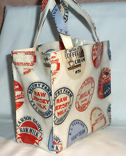 Handmade cotton oilcloth Mini tote Lunch, craft, Childrens Bag - Dairy Crests