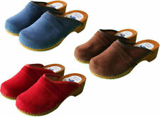 Women's Clogs Size 3-8 Swedish Danish Velour Wooden Sole Beach Leather Upper