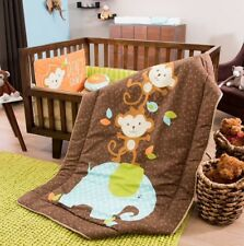 LITTE MONKEY BABY BOYS CRIB BEDDING SET NURSERY 6 PCS FOR BABY SHOWER GIFT