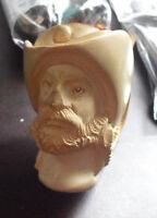 "Vintage Meerschaum Carved Pipe Pirate Man Bust 5 1/2"" Long"