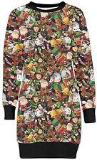 New Womens Christmas Bells Santa Comic Print Sweatshirt Jumpers Tunic Tops 8-22