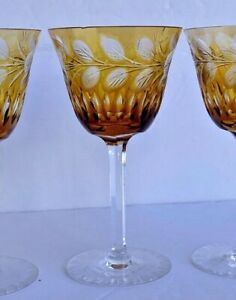 Antique Bohemian Cut to Clear Amber Hock Goblets Set of 3